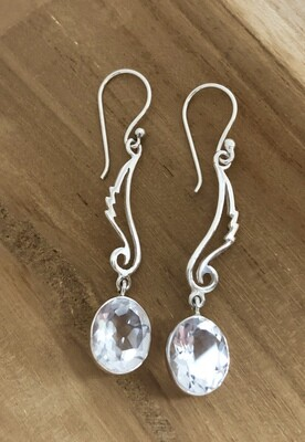 Faceted Quartz Sterling Feather Earrings