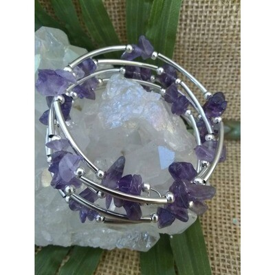 Amethyst Gemstone Pewter Wrap Bracelet