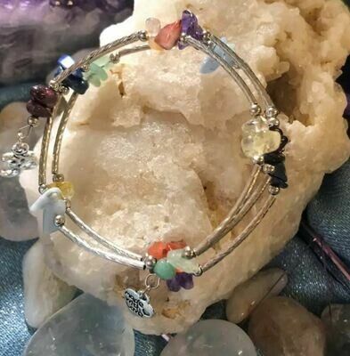 Chakra Gemstone Pewter Wrap Bracelet