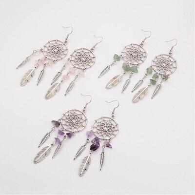 Gemstone Dreamcatcher Dangle Earrings