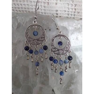 Sodalite Gemstone Dangle Earrings