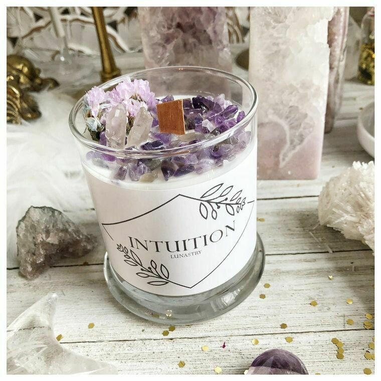 Intuition Soy Candle with Amethyst Gemstones