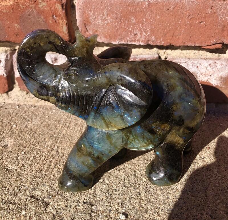 Large Blue and Golden Flash Labradorite Elephant Carving