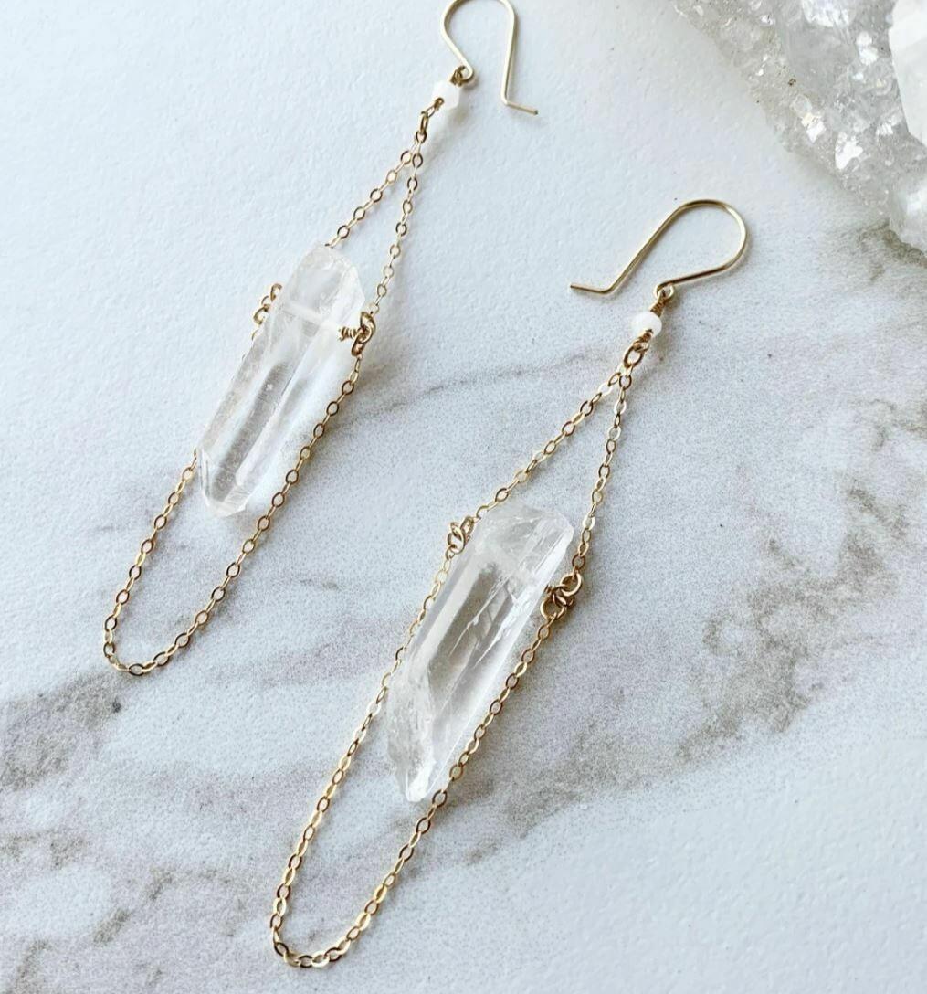 Raw Crystal Quartz Drop Earrings in 14k Rose Gold