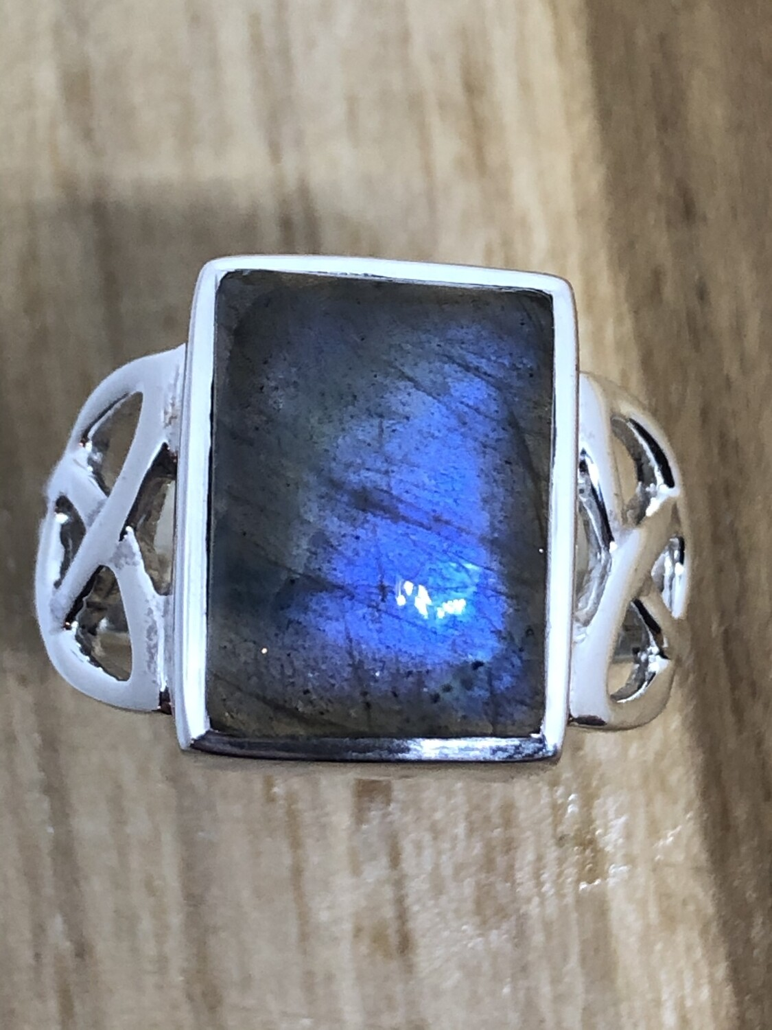 Labradorite Celtic Trillion Ring