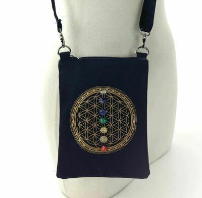 Sacred Geometry 7 Chakras Crystal Grid Cross Body Bag