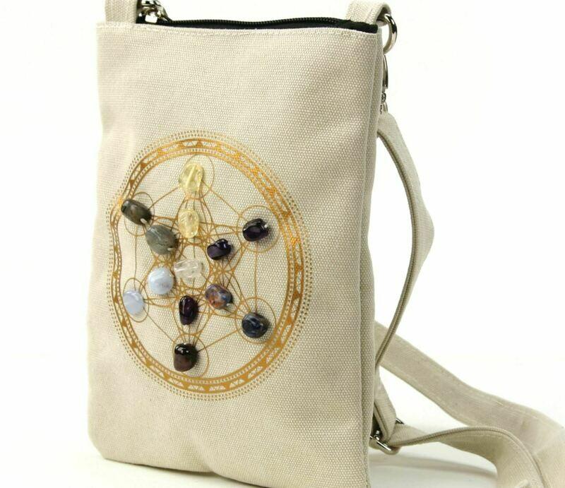 Sacred Geometry Crystal Grid Anxiety Cross Body Bag