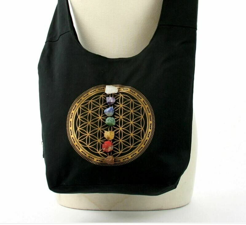 Sacred Geometry 7 Chakras Crystals Hobo Bag in Canvas