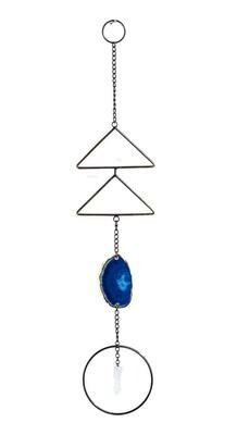 Blue Agate and Quartz Sacred Geometry Wall Hanging