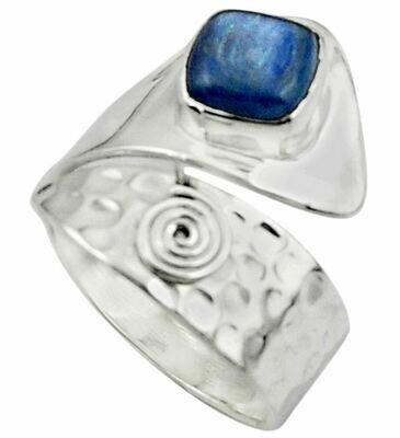 Solitaire Natural Blue kyanite Adjustable Ring