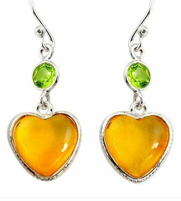 Yellow Amber & Peridot Heart Earrings