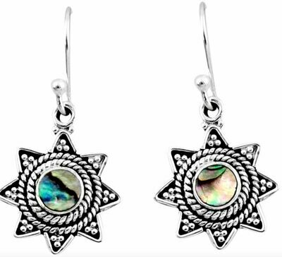 Natural Green Abalone Paua seashell Earrings