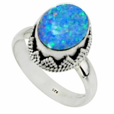 Natural Doublet  Australian Opal  Ring Size 8