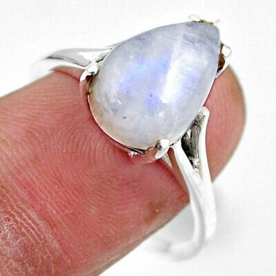 Rainbow Moonstone Silver Solitaire Ring  9