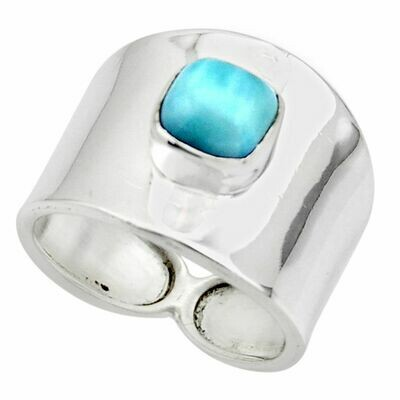 2.51cts Solitaire Natural Blue Larimar Ring 7