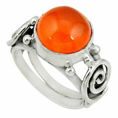 Orange Carnelian Silver Solitaire Ring Size 6