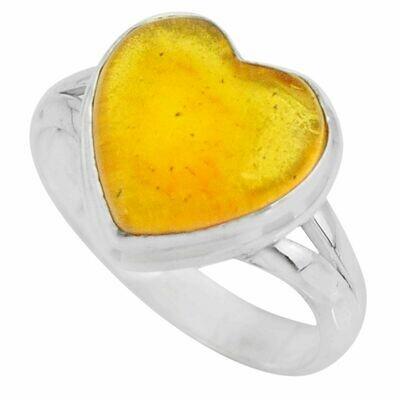 Natural Yellow Amber Bone Heart Ring 9