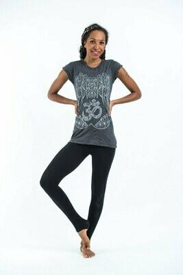 Women's Ohm hands T-Shirt Silver on Black