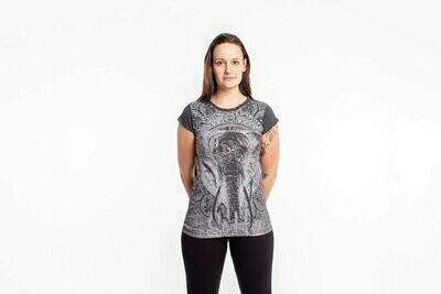 Wild Elephant T Shirt in Silver on Black