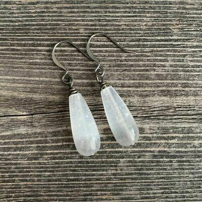 Selenite Teardrop Earrings