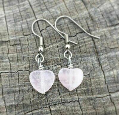 Delicate Rose Quartz Heart Earrings