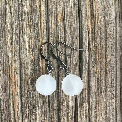 Selenite Crystal Round Earrings
