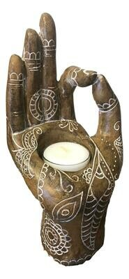 Wooden Mudra Hand Candle Holder