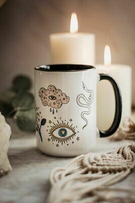Whimsical Boho Seeing Eye Coffee Mug