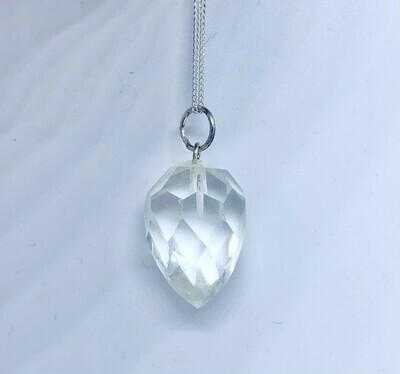 Faceted Quartz Point Pendant Necklace