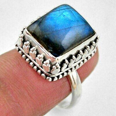 Natural Blue Labradorite Square Ring