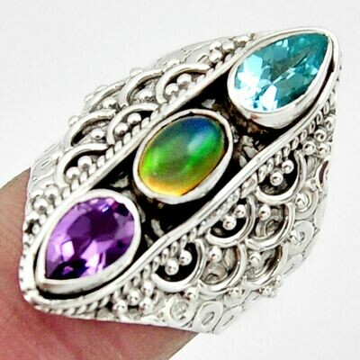 Ethiopian Opal ,Amethyst and Topaz Ring 7