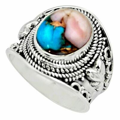 Pink Opal in Turquoise Ring 8