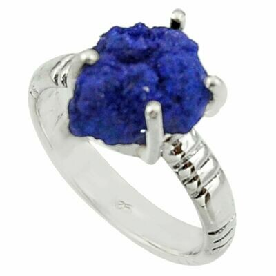 Natural Blue Azurite Druzy Solitaire Ring 7.5
