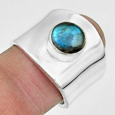 Natural Blue Labradorite Round Solitaire Ring 7.5