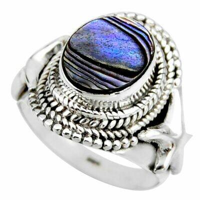 Natural Abalone Paua Seashell Ring 6.5