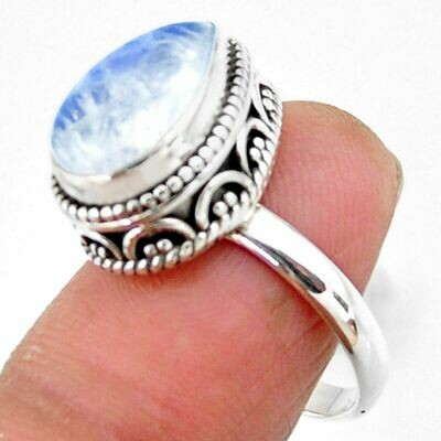 Solitaire Natural Rainbow Moonstone Ring 7