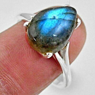 Blue Labradorite Teardrop Solitaire Ring