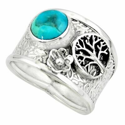 Mohave Turquoise with Tree of Life Silver Ring 8