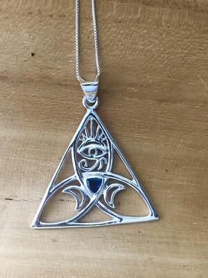 Iolite Sacred Power Symbol Pendant Necklace