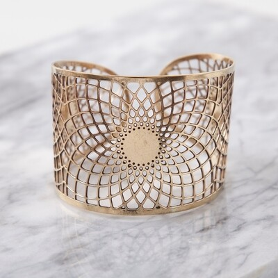 Brass Sacred Geometry Cuff Bracelet
