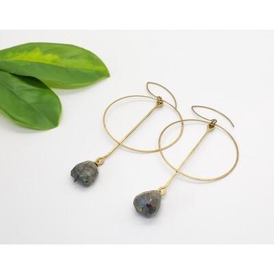 Brass Labradorite Stone Hoop Earrings