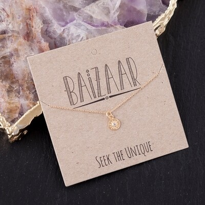 22kt Gold Plated Tiny Sun Pendant with Crystal