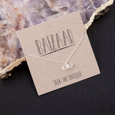 Silver or 22k Gold Plated DT Quartz Necklace