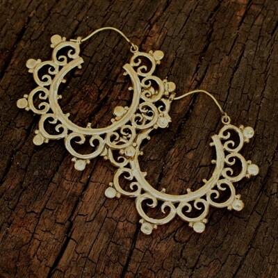 Brass Blossomed Hoop Earrings