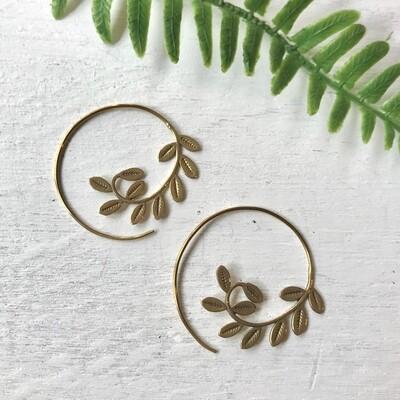 Brass Leaf Spiral Earrings