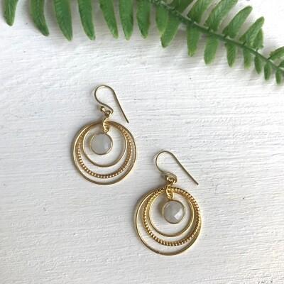 Brass Orbit Moonstone Earrings