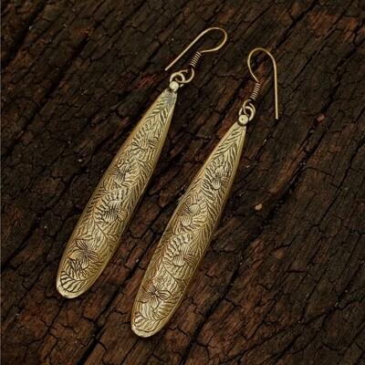 Carved Water Drop Earrings