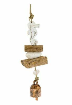 Carved Driftwood Sea Horse Nana Bell Wind Chime 15