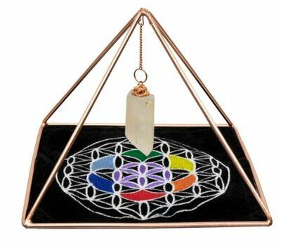 Copper Pyramid Energizer Set w/Crystal Point & Velvet Mat