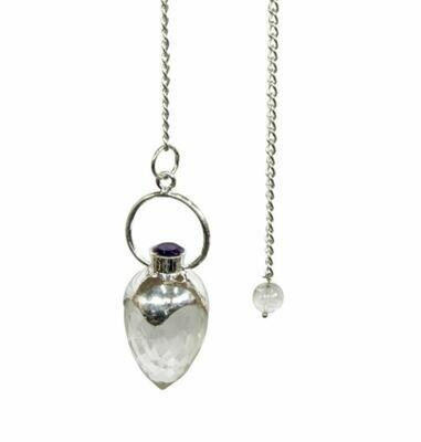 Faceted Clear Quartz and Amethyst Pendulum